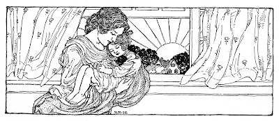 Vintage Mother's Day Clip Art – Mother with Sleeping Child