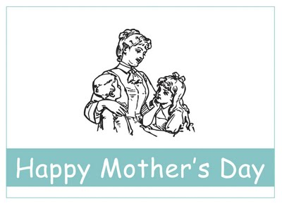 Kids Vintage Printable – Mother's Day Card to Color