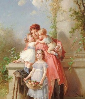 Free Graphic – Beautiful Painting of Mother and Children