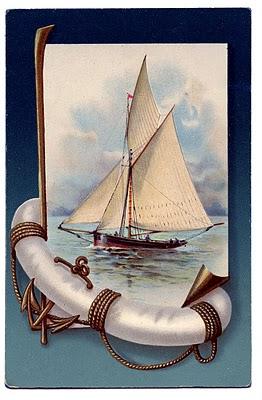 Vintage Nautical Clip Art Beautiful Sailboat The