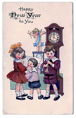 Vintage New Year Clip Art – Children with Cupid