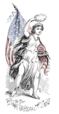 Patriotic Clip Art – Lady with Flag – Wonderful Engraving