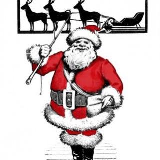 Free Vintage Clip Art – Santa with Reindeer Silhouette