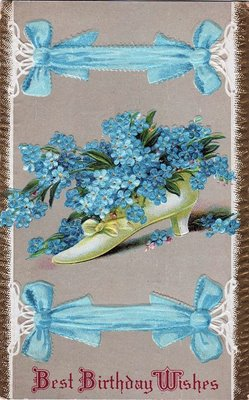 Vintage Birthday Card Shoe with Forget Me Nots The