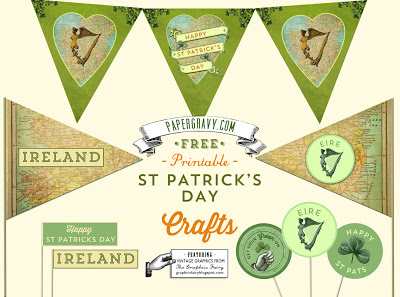 Vintage Printables – St. Patrick's Day – Flags – Buntings – Stickers