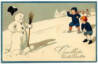 Vintage Clip Art Image – Adorable Snowman