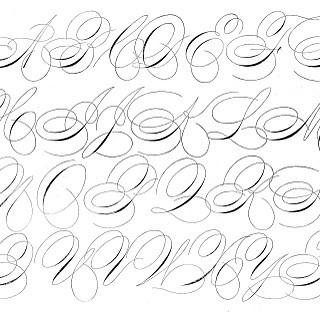 Antique Clip Art – Pen Flourished Alphabet – Swirly