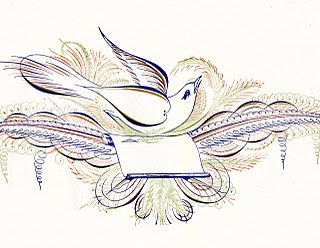 Free Antique Clip Art – Pen Flourished Bird in Color