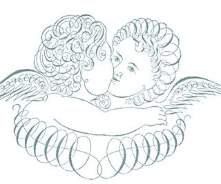 Free Antique Clip Art – Pen Flourished Cherubs