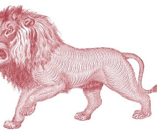 Free Antique Clip Art – Pen Flourished Lion