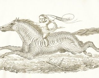 Free Antique Clip Art – Pen Flourishing Horse with Cherub