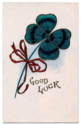 Vintage St Patricks Day Clip Art – Lucky 4 Leaf Clover