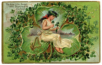 Vintage St Patricks Day Clip Art – Lovely Lass in Giant Clover