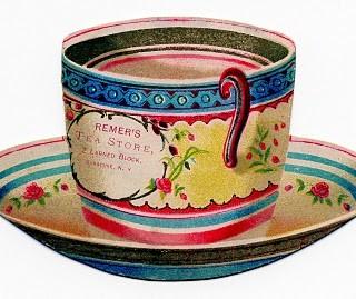 Free Vintage Clip Art – Tea Cup Trade Card