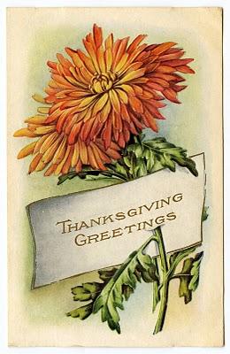 Vintage Thanksgiving Clip Art – Mums – Placecard