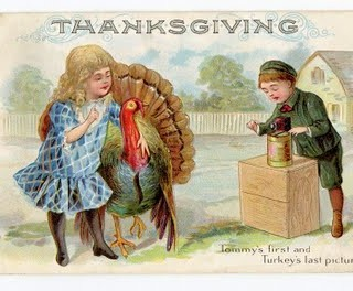 Free Thanksgiving Clip Art – Turkey with Cute Girl and Boy