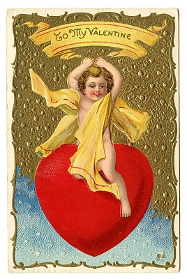 Vintage Valentine Clip Art - Cherub Riding Giant Heart ...