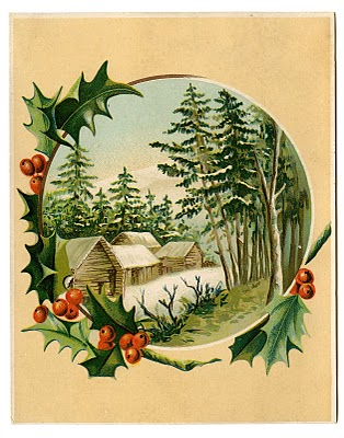 Vintage Christmas Clip Art – Winter Scene + Holly Frame