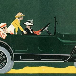 Antique Car Image – Lady Driver