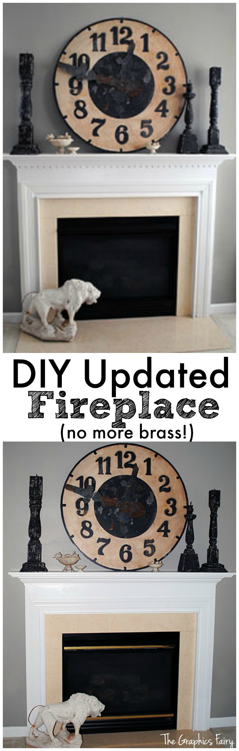 DIY Updated Fireplace - No more brass - by The Graphics Fairy