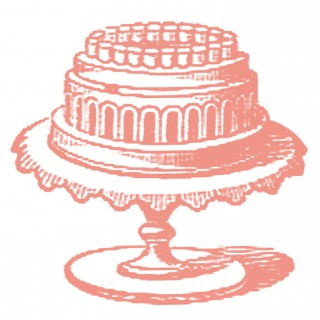 Vintage Image Fancy Cake on Stand