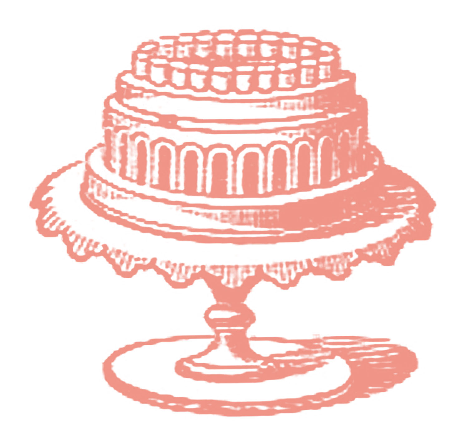 Retro Cake Clip Art : Free Vintage Images - Cake on Cake Plate - The Graphics Fairy