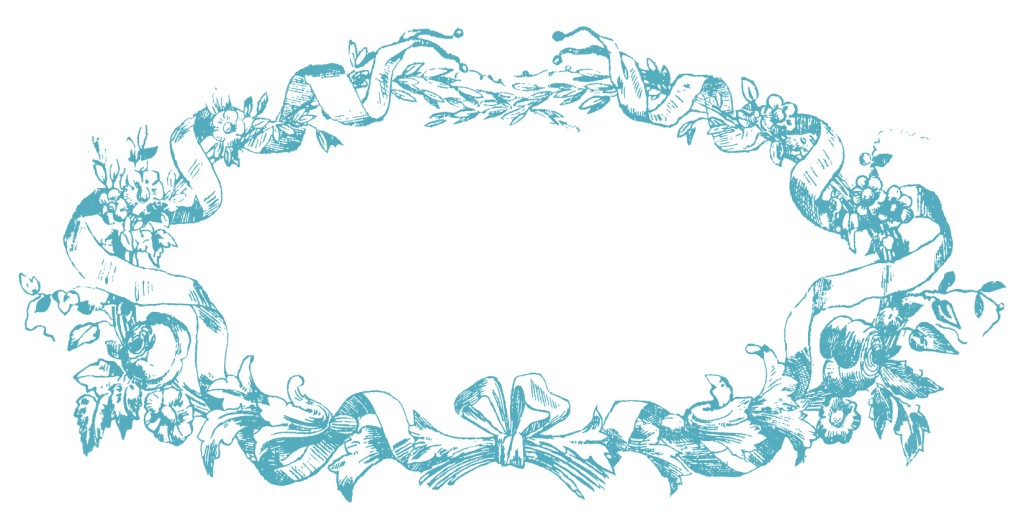 French Ribbon Frame Image Blue