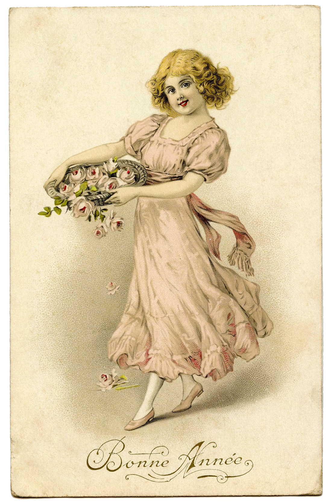 Vintage Graphic Girl With Pink Roses The Graphics Fairy