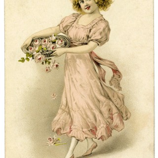 Vintage Graphic Girl with Roses Basket