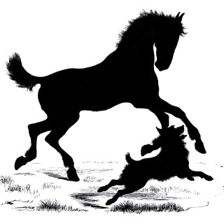 Free Vector Downloads – Silhouette Horse and Dog