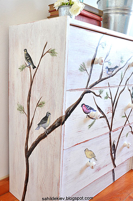Painted Bird Dresser