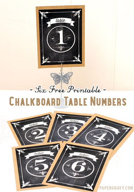 photograph about Free Printable Table Numbers named Absolutely free Printable Chalkboard Desk Figures - The Graphics Fairy