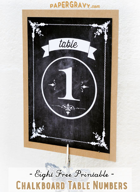 Free Printable Chalkboard Table Numbers