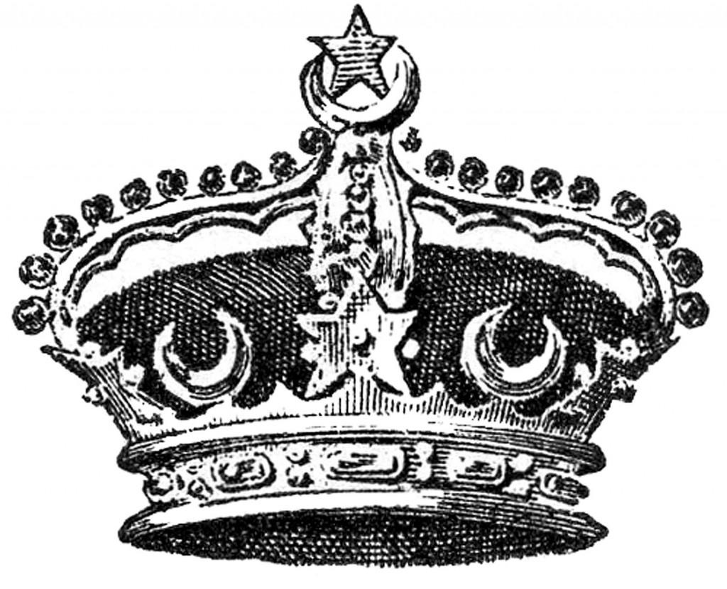 Vintage Image Crown moon stars