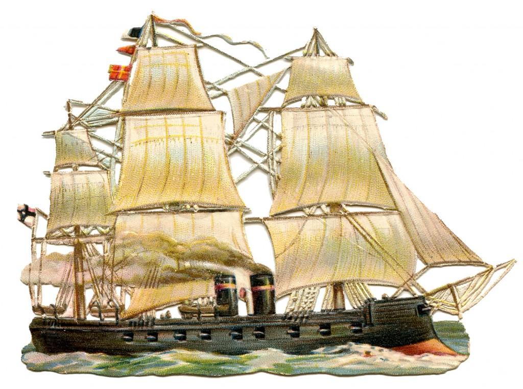Vintage Ship Image Steam Sails