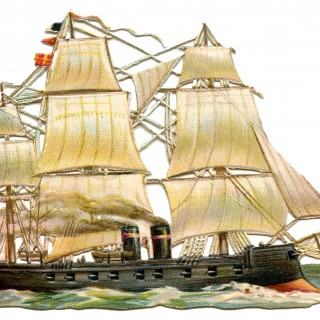 Vintage Ship Image – Steam and Sails