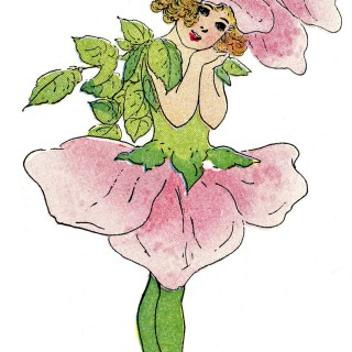 Vintage Fairy Image - Flower Girl Rose