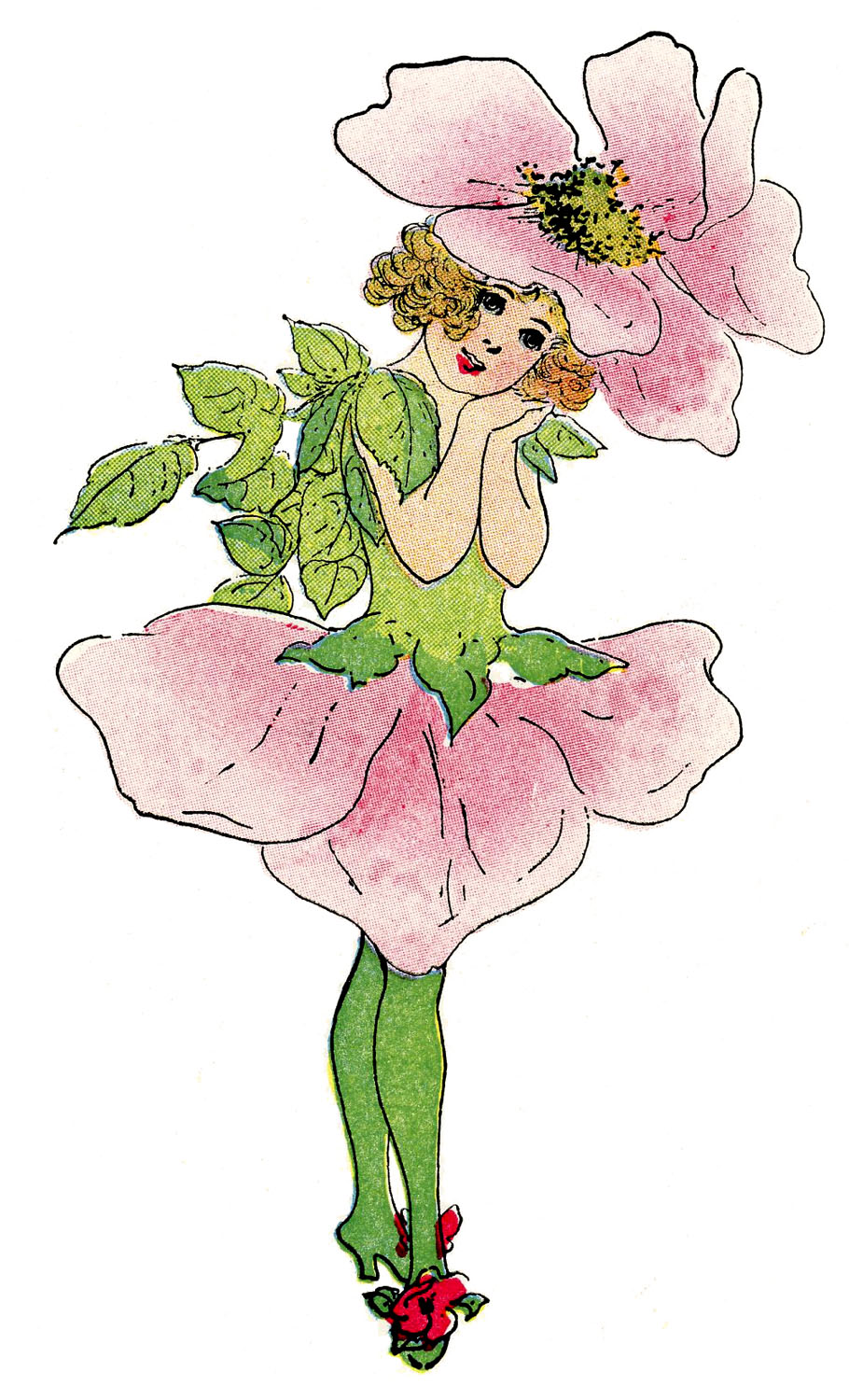 Vintage Fairy Image - Rose Flower Girl