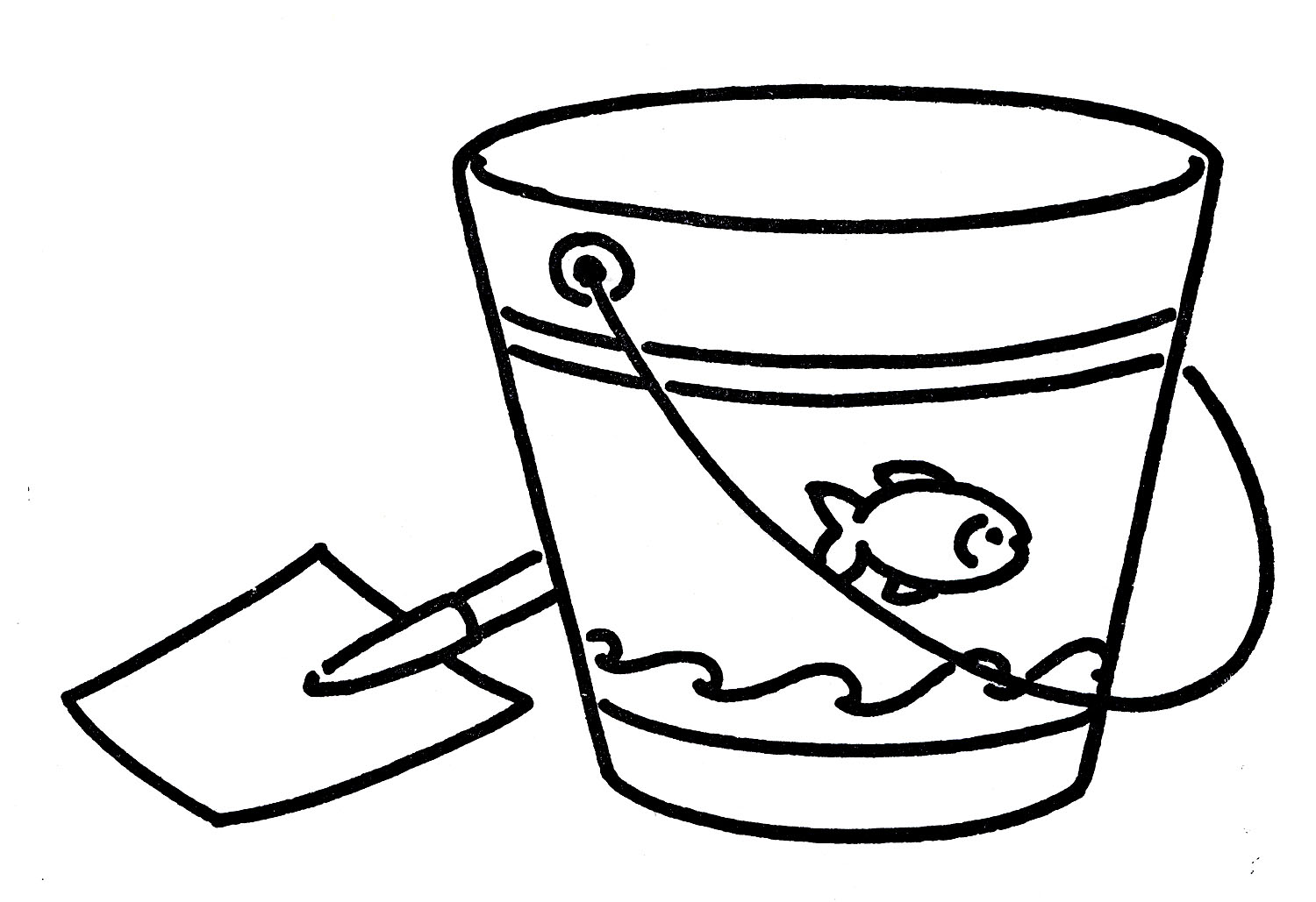 Vintage Line Art Shove And Pail