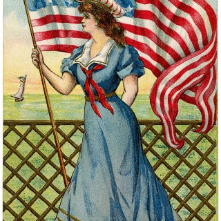 Vintage Patriotic Image – 4th of July – Sailor Girl