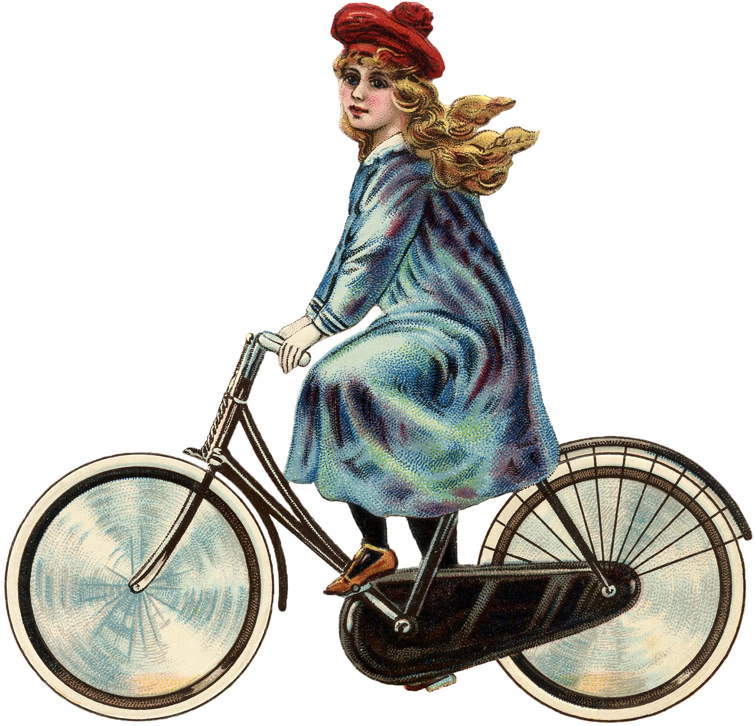Antique Bicycle Girl Image