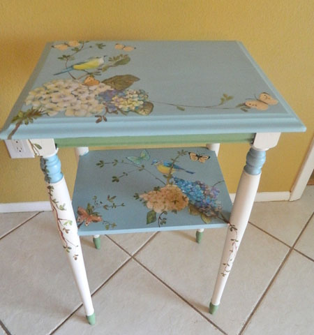 Good Birds And Butterflies Painted Table