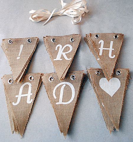 David Tutera Burlap Pennants