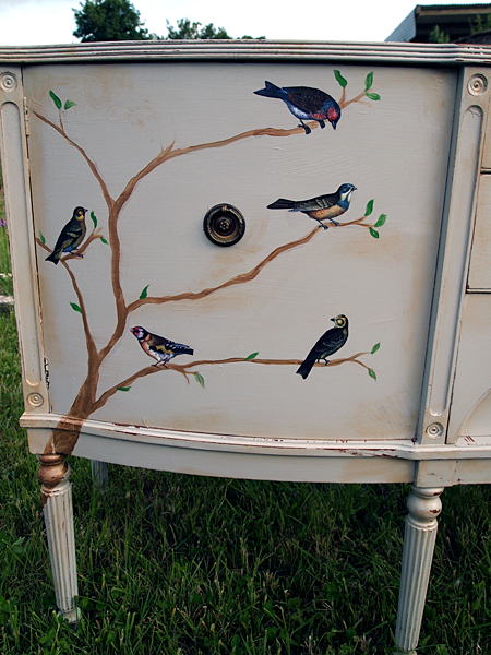 Beautiful Sideboard With Bird Graphics