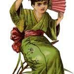 Vintage Girl in Kimono Image