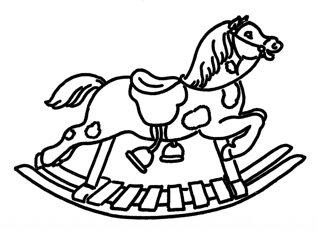 Line And Art : Vintage line art rocking horse the graphics fairy