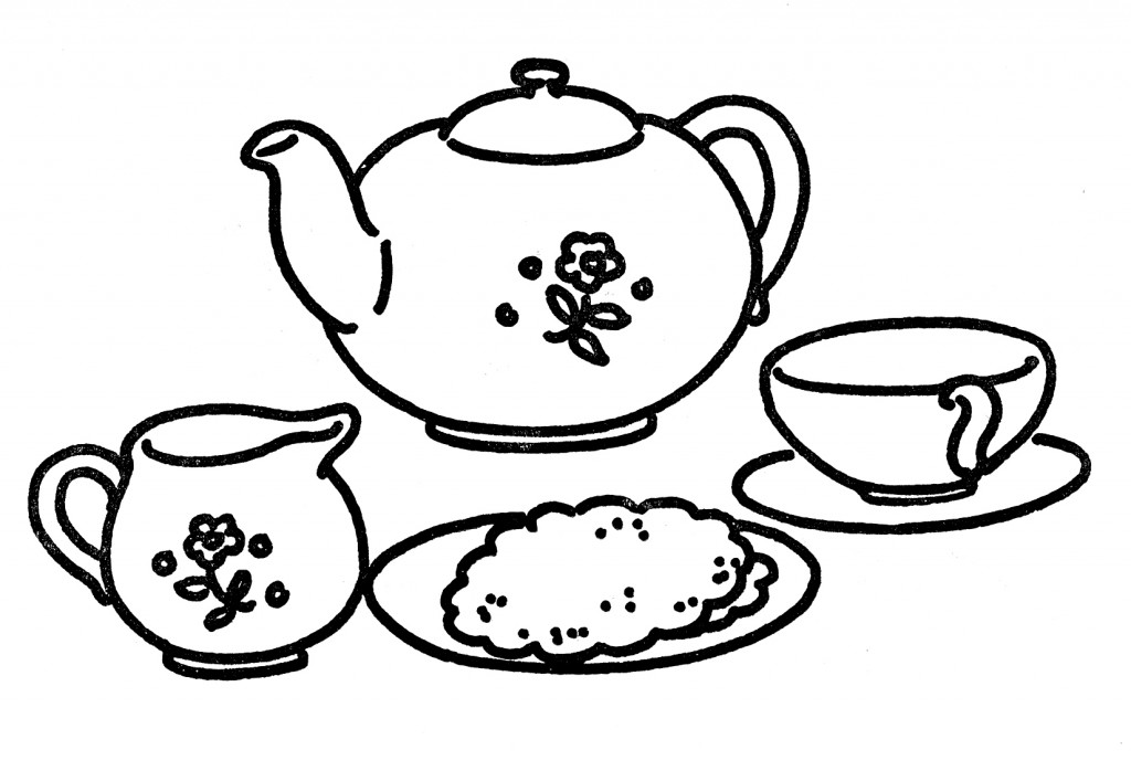 Line Drawing Clip Art : Line art tea set the graphics fairy