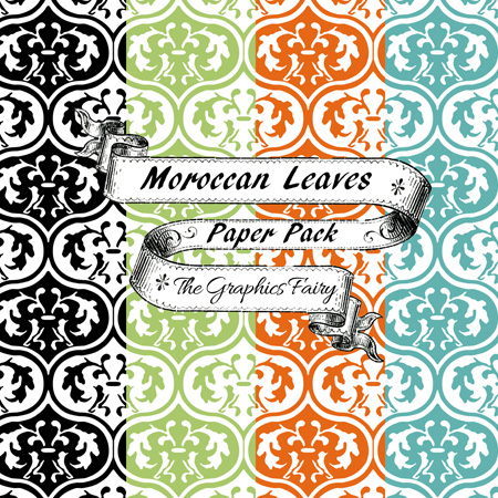 Moroccan Leaves Digital Papers