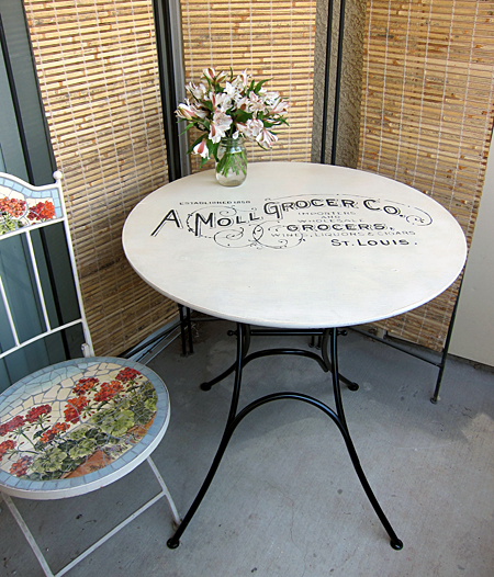 Painted French Bistro Table at The Graphics Fairy