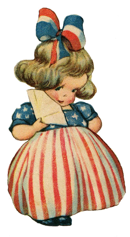 Patriotic Cute Girl Image